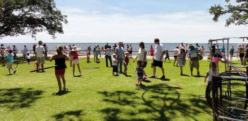 Hooping on the lawn at Croaker Festival 2014.