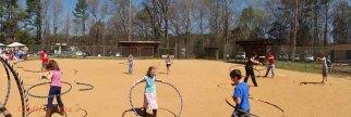 Hooping on the ballfield.