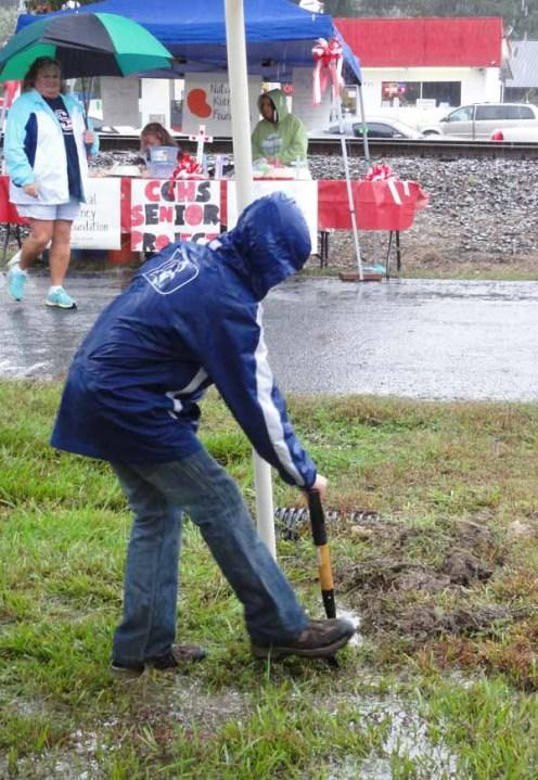 Ditch digging volunteer.