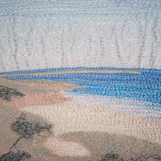 Freehand machine embroidery using fabric and embroidery to create amazing wall art from my landscape photographs - Tamara Russell - Karhina.com