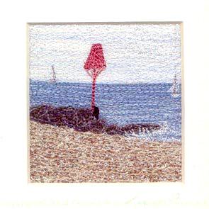 Sea Beacon Freehand machine embroidery using landscape images to create amazing wall art – Tamara Russell – Karhina.com