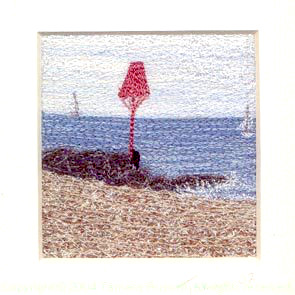 Sea Beacon Freehand machine embroidery using landscape images to create amazing wall art – Tamara Russell – Karhina.com