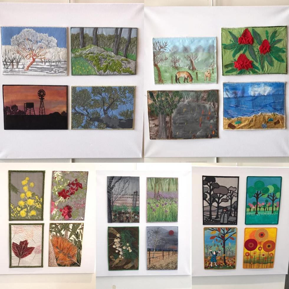 Works by #TheaMcCarthy #MargaretColvin #KathyBellby #MarianGreaves and #BarbMcCabe part of #seasonalStories exhibition at #WangarattaLibrary – #StitchUp #TextileFestival #Wangaratta #visitwangaratta #visitvictoria #textiles #fibre #tapestry #textileart #stitcherycentral #art #gallery