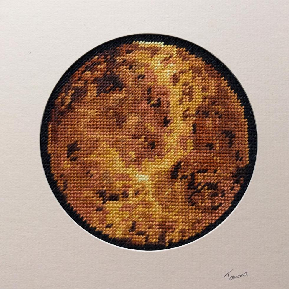 #Planet series So many great colours and patterns #outinSpace – Here is #Venus . #Stillstitching #space #planets #theuniverse #motherearth #slowstitching #nightsky #textileart #fibreart #embroidery #slowstitch