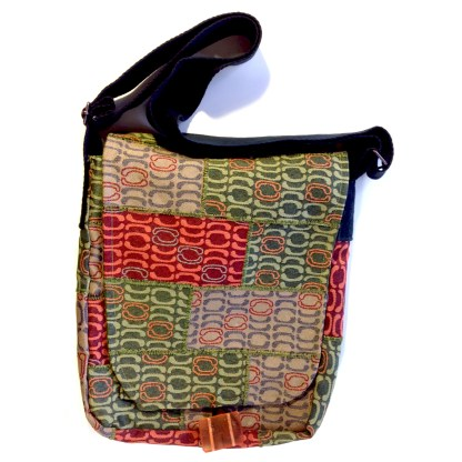 Messenger upcycled bag - Wall fields