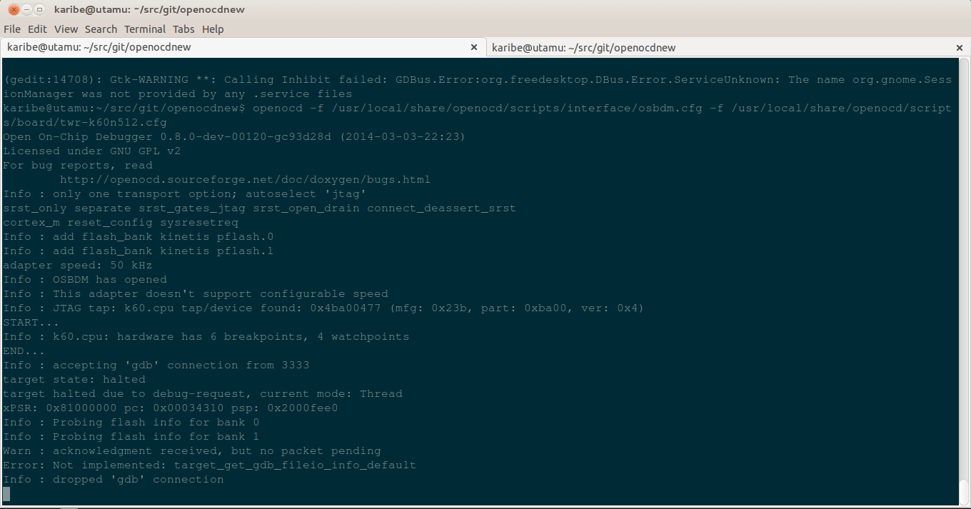 TWR-K60N512 full debug with OpenOCD and GNU-ARM in Linux