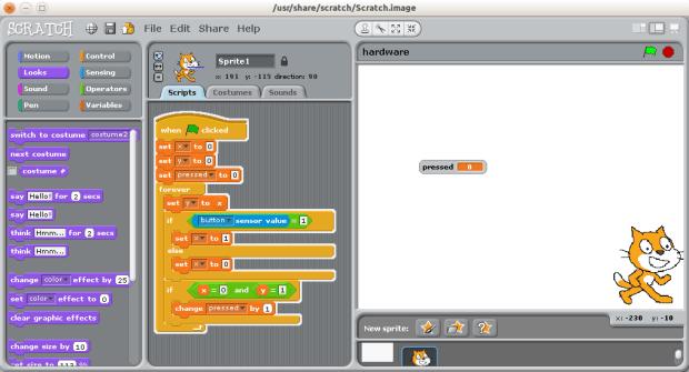 Scratch button press debounce script
