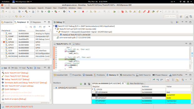 MCUXpresso IDE Develop view