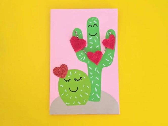DIY cactus Valentines Day card