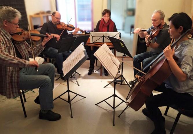 Kronos Quartet and Ritva Koistinen, kantele, in rehearsal of All Those Strings!