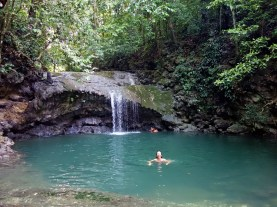 April swimming in the waterfall pools at Siete Altares, Guatemala -- Karina Noriega
