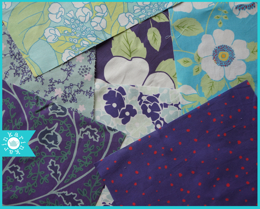 turquoise and purple fabric swatches