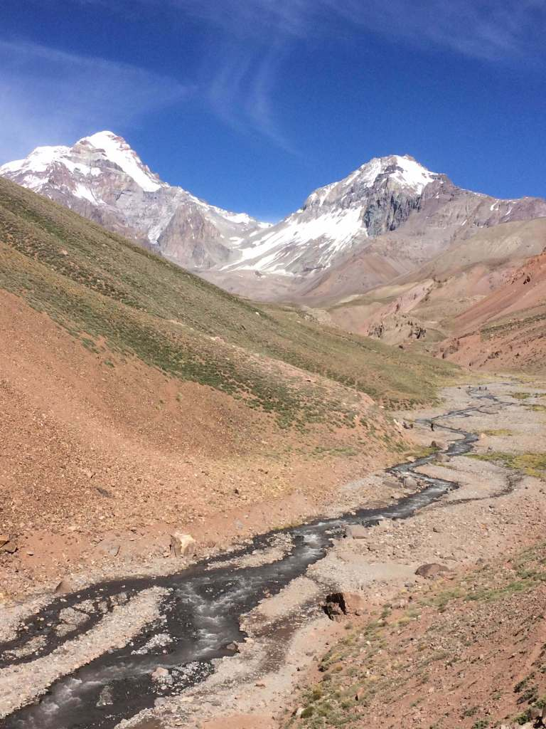 Glimpse of the summit of Aconcagua via the 360 route