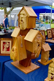 Hand carved bird houses