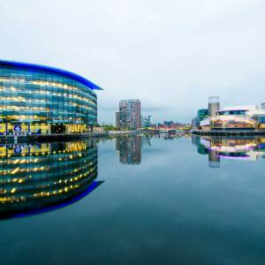 Salford Quays BBC View Reflected at Dusk