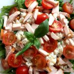 Pasta salad with smoked chicken, cherry tomatoes and cottage cheese