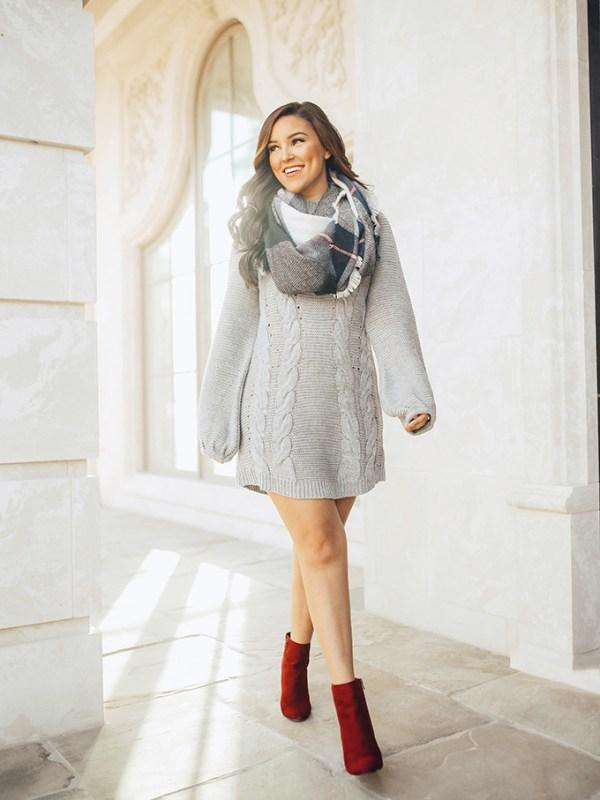 Sweater Dress & Scarf
