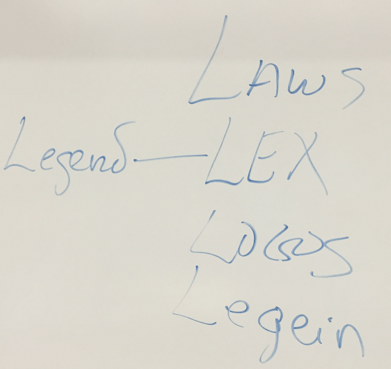 "The relation in our own language between ""law"" and ""legend."" Plato says that no law will last long that does not have a legend or narrative attached to it that everyone believes to be the case."
