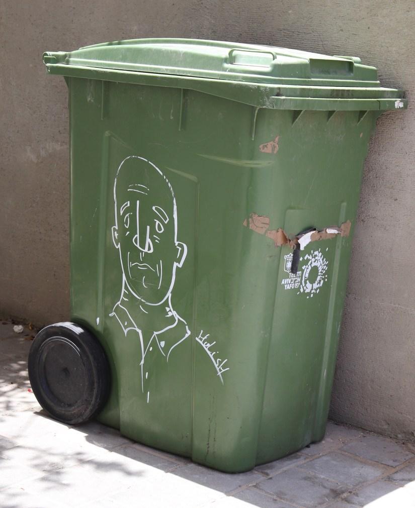 graffiti on a wheelie bin in Tel Aviv