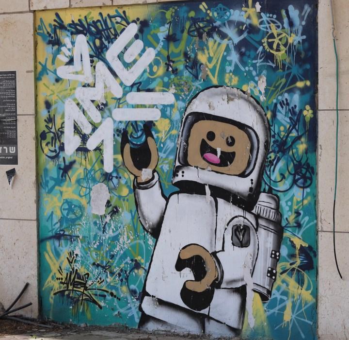 Lego themed Street art in Tel Aviv
