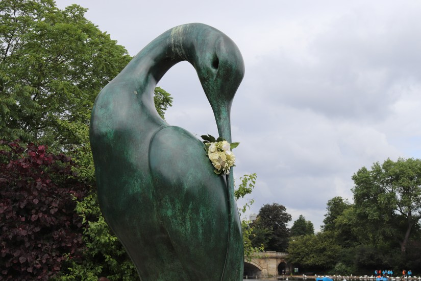 A statue of a stork, close to the Diana, Princess of Wales Memorial Fountain in Kensington Gardens