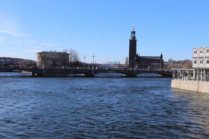 A view of the Stockholm City Hall from a bridge into the Gamla Stan