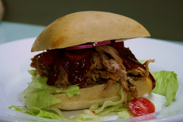 pulled pork med BBQ-sås