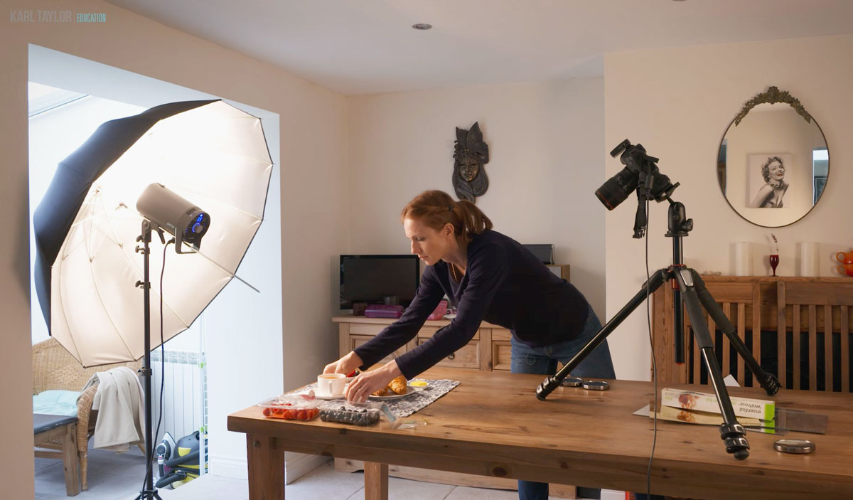 simple food photography setup croissant