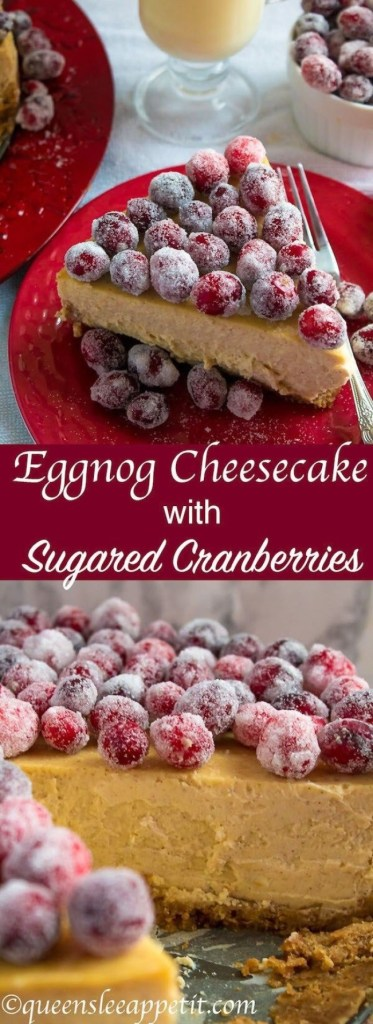 Eggnog Cheesecake With Sugared Cranberries