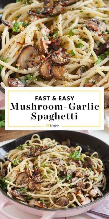 Mushroom-Garlic Spaghetti