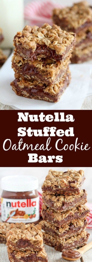 Nutella Stuffed Oatmeal Cookie Bars