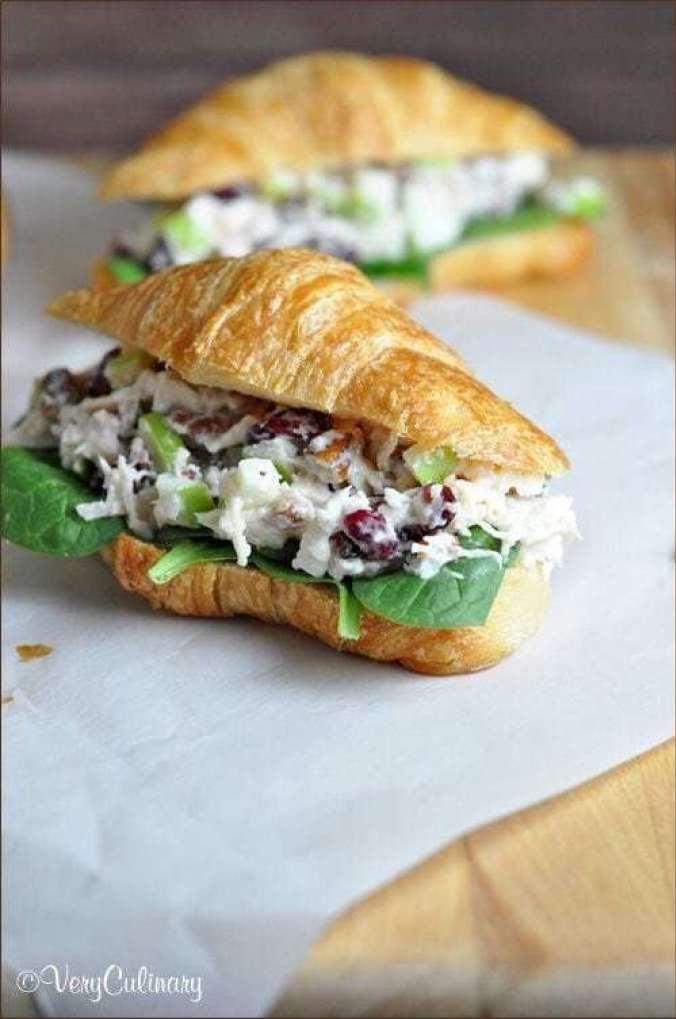 Chicken Salad Sandwich with Cranberries & Apples - - 20 Best Croissant Sandwich Recipes