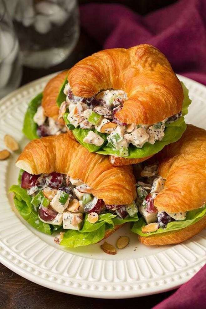 Almond Poppy Seed Chicken Salad Sandwiches - - 20 Best Croissant Sandwich Recipes