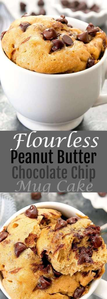 Flourless Peanut Butter Chocolate Chip Mug Cake recipe