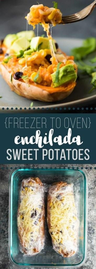 Freezer to Oven Enchilada Stuffed Sweet Potatoes