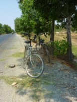 Sometimes there were trees lining the road from the border to Takeo.... the shade was always welcome. These bikes were just hanging out alone by the side of the road.
