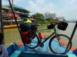 I took a train the rest of the way into Bangkok, and had to grab a small ferry to reach the train station in Ayutthaya. Amphibibike!