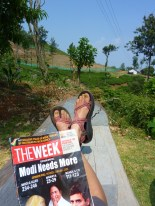 Relaxing for a bit after arriving at Pallaniappa.... April was election month in India so I tried to learn a little indian politics