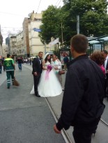 A wedding going on on Istiklal St., on May 31st which was the anniversary of the riots in this area last year.