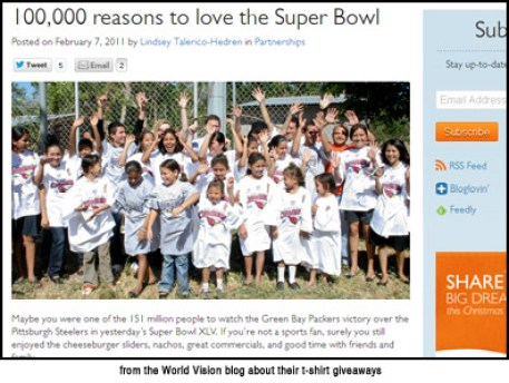 Shows World Vision website with photos of children who got free t-shirts