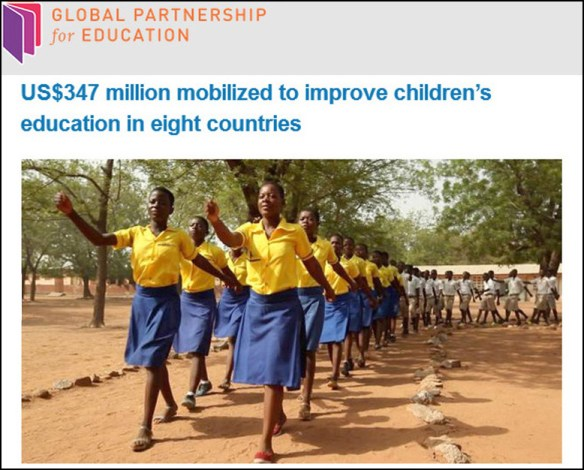Promotional photo sent out by the Global Partnership for Education, showing girls marching in lockstep formation -- apparently GPE's ideal of what schools should be all about.