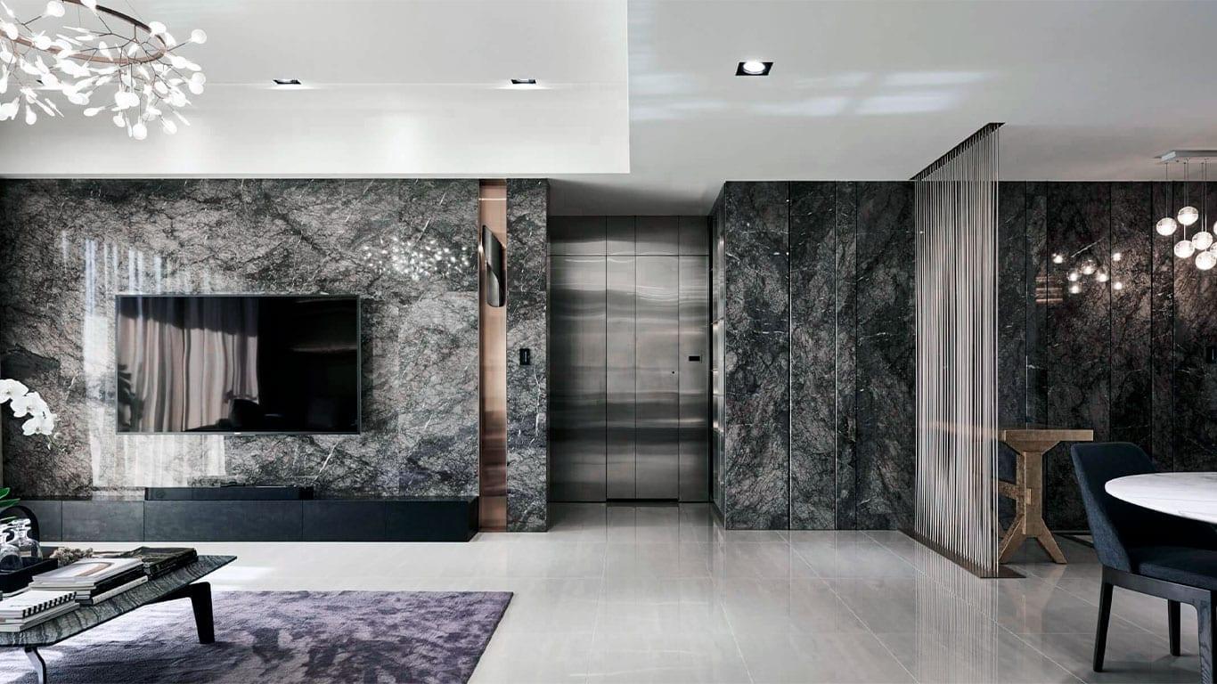 Black marble design living room