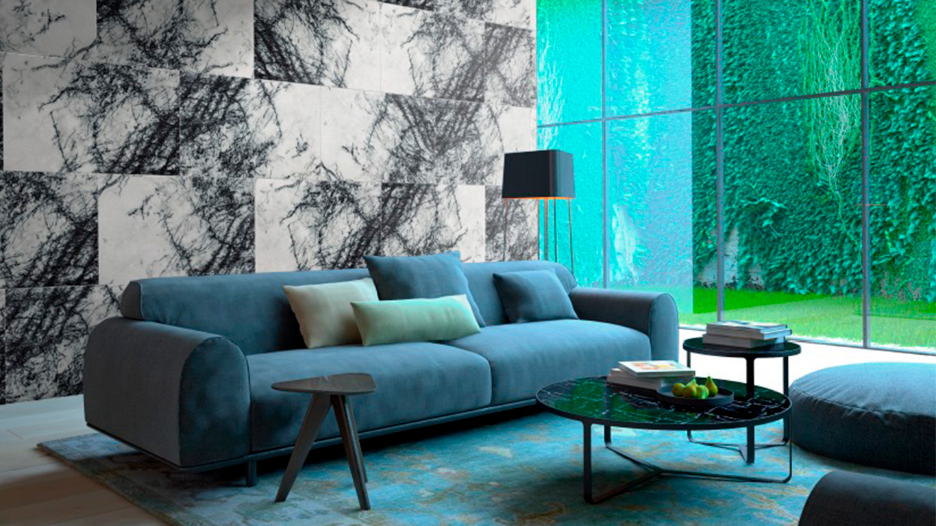 living room marble wall covering