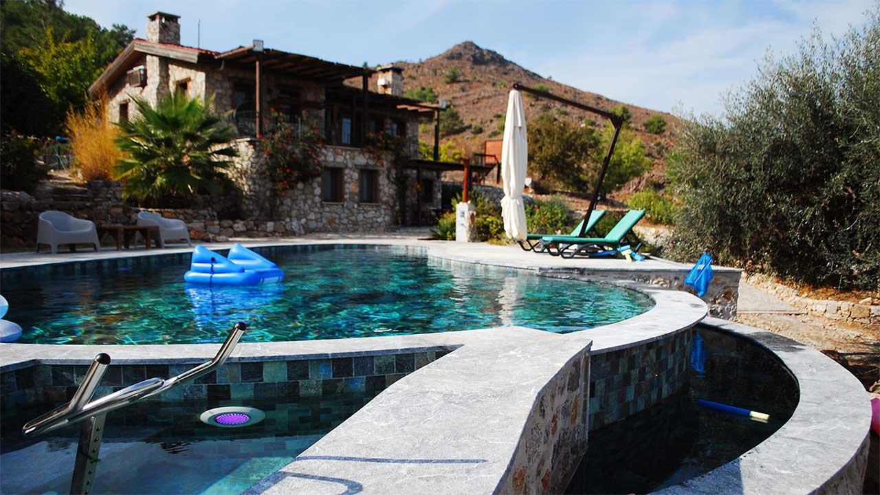 sandblasted marble pool house