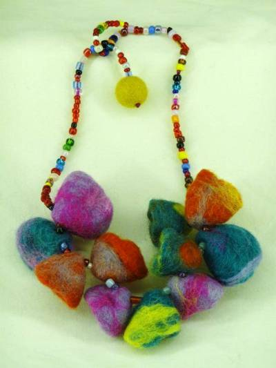 Necklace or Earrings with tie-dye effect felt bluebells, multicoloured beads and silver coloured trimmings.