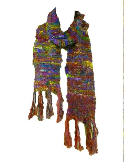 Scarf handmade from multicoloured recycled silk.