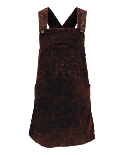 Karma Gear Black Chocolate Mocha Corduroy Pocket Pinafore Handmade Dress Fair Trade