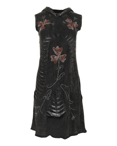 Karma Gear - Handmade Floral Pixies style hooded festival dress