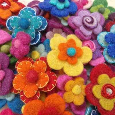 Felt Flower Pins - Karma Gear - Handmade & Fairly Traded from Nepal