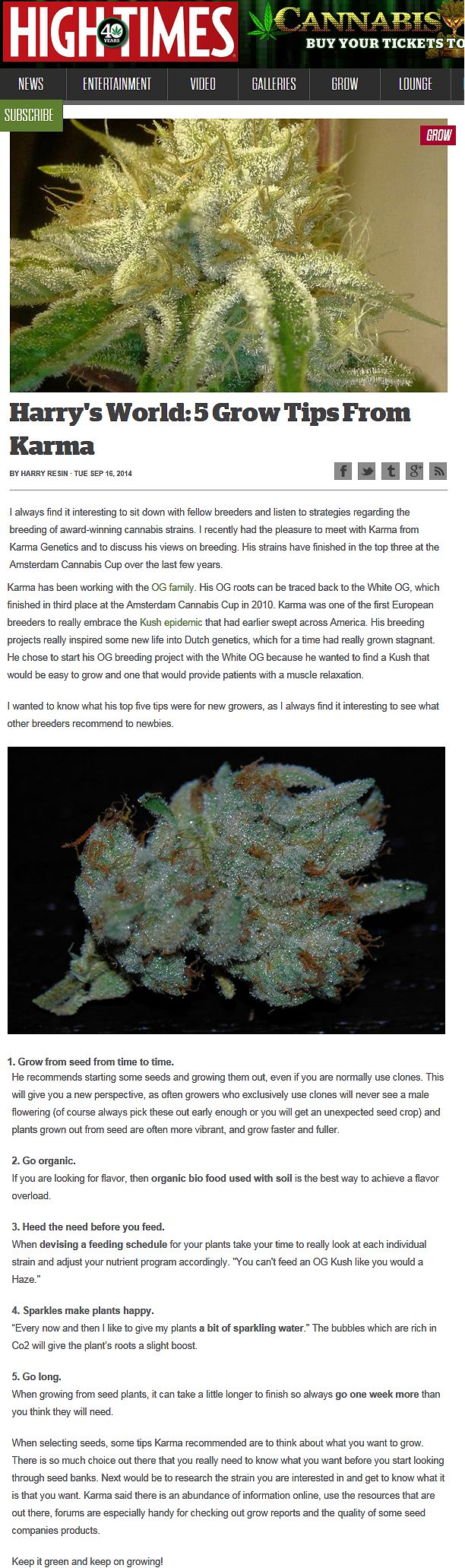High Times Harrys World Five Grow Tips From Karma